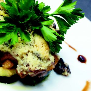 Gratin de courgette et pomme, Rocamadour en Crumble de noix